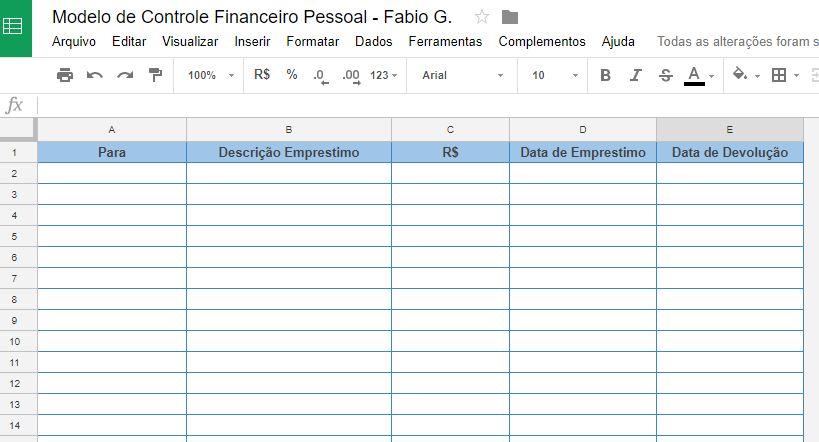 planilha de gastos para você ter um controle financeiro pessoal modelo