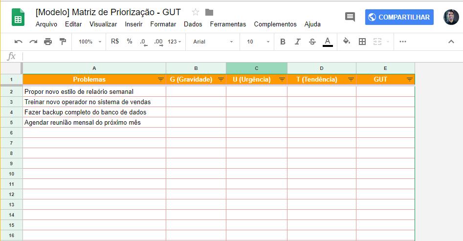 Planilha de priorização GUT