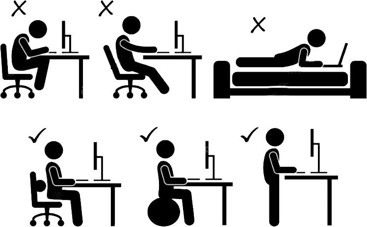 Posições para usar o computador corretamente